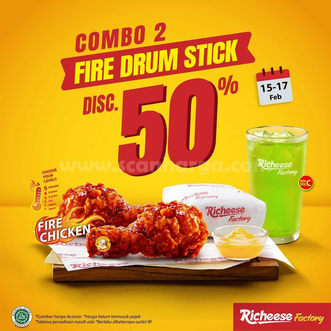 RICHEESE FACTORY Promo DISKON 50% untuk COMBO 2 FIRE DRUM STICK!