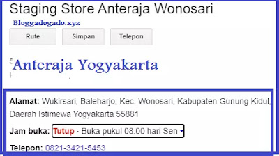 Alamat dan nomor telepon anteraja Yogyakarta