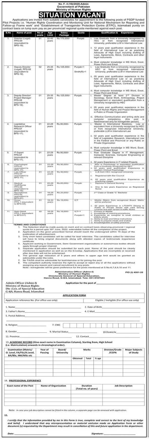 Latest Ministry of Human Rights Establishment of Transgender Protection Centre ETPC Jobs 2021 For Research Officer, IT Expert, Psychologist, Law Officer & more