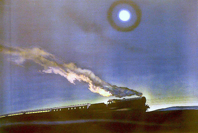 a 1932 illustration of a train passing at night