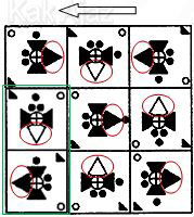 Pembahasan Soal Figural No. 44 TKPA SBMPTN 2016 Kode Naskah 321, pola gambar: rotasi 90 derajat berlawanan dan searah jarum jam, inversi warna