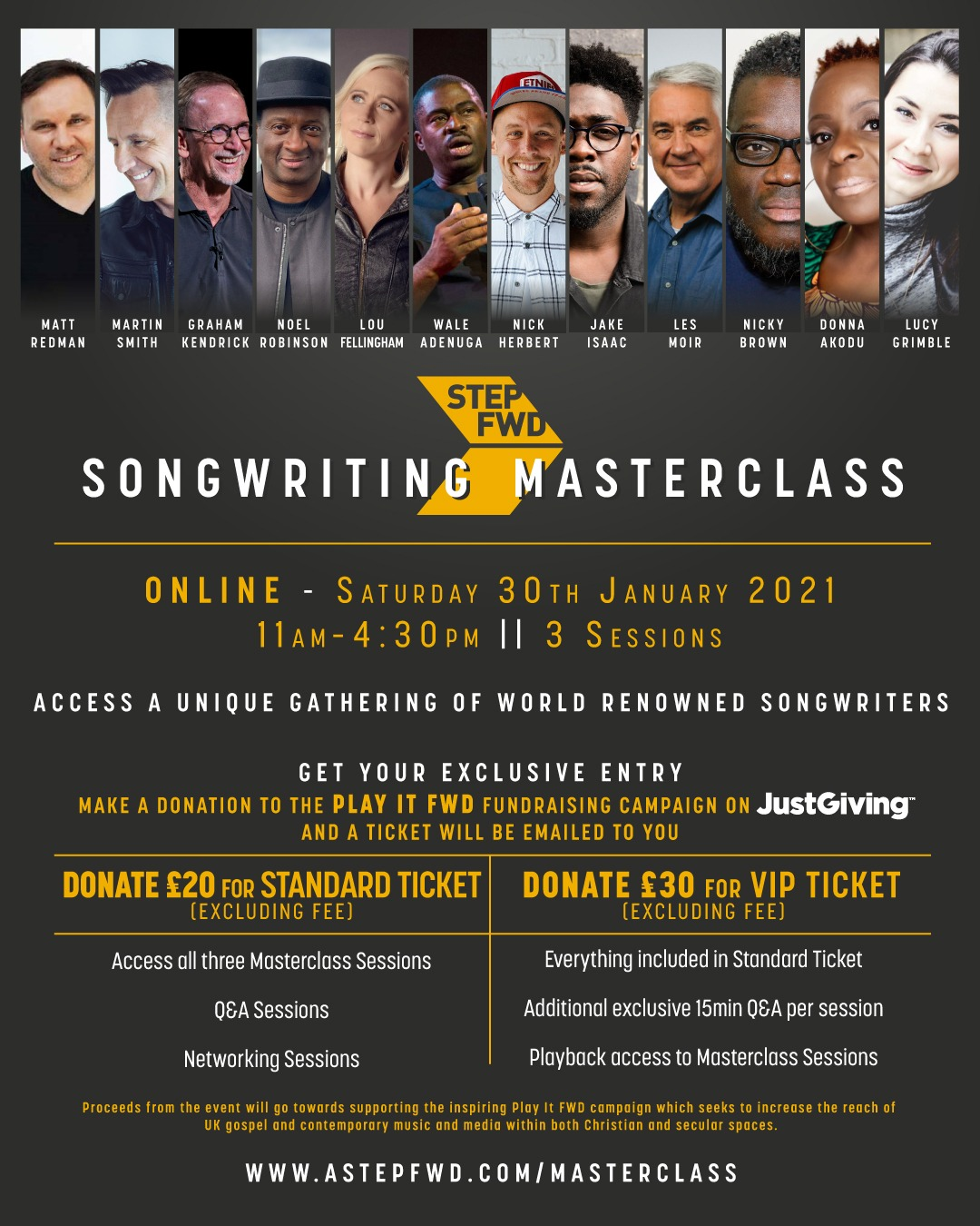 aStepFWD to host unique gathering of world-renowned creatives  at Songwriting Masterclass