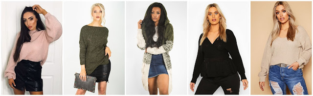 collage of knitwear from justyouroutfit and boohoo