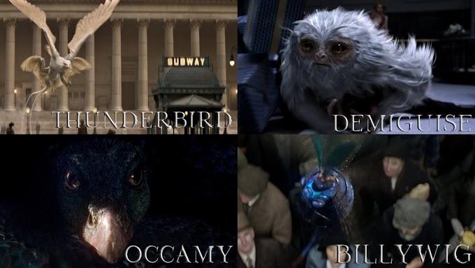 Algumas criaturas que podemos ver no novo trailer de Animais Fantásticos