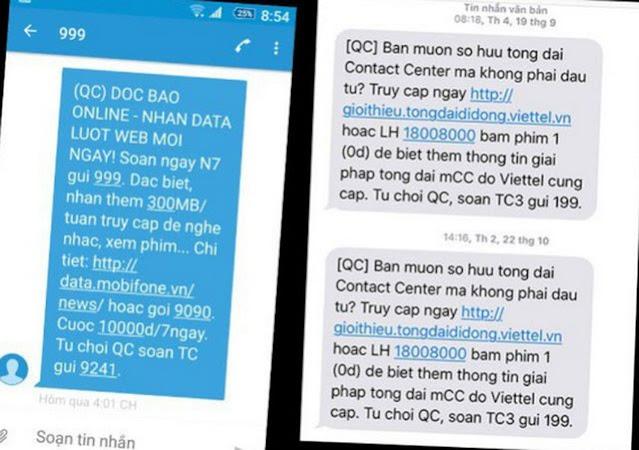Hướng dẫn thuê bao di động đăng ký từ chối cuộc gọi, tin nhắn quảng cáo rác