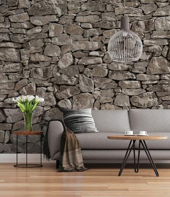 fotomural imitación pared de piedra