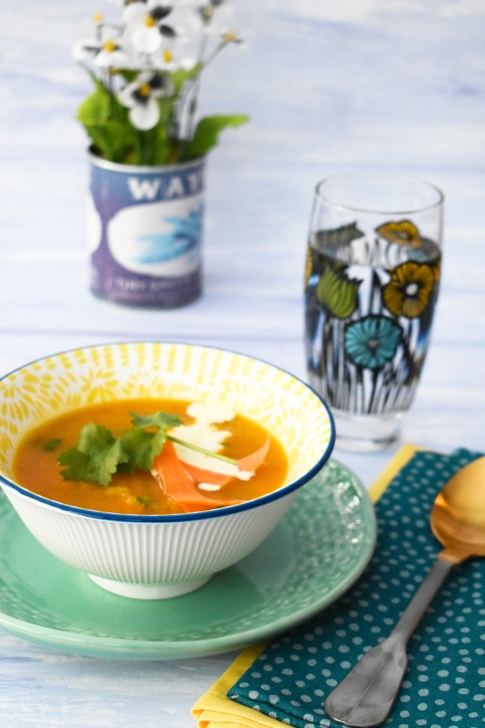 Slow Cooker Carrot & Coriander Soup in  bowl