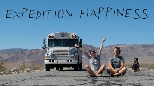Expedition Happiness filmposter waarop de hoofdrolspelers staan afgebeeld