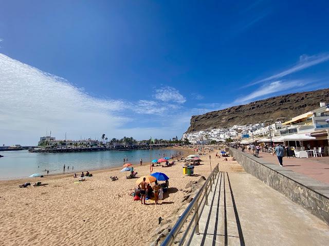 Beach and promenade in Puerto Mogan, Gran Canaria, Spain