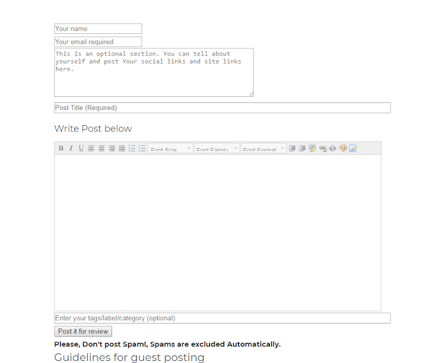 simple guest post form