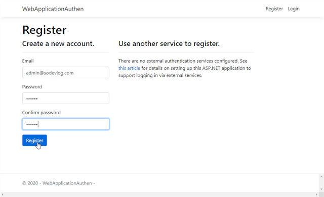 ASP.NET Core 3.0 - Create a new User