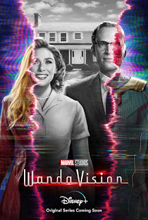 1960's b/w to 3d looking poster of Wanda and Vision