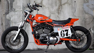 sportster street tracker total orange side left