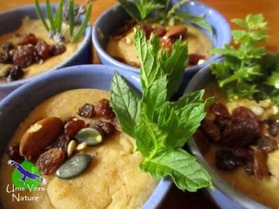 dessert plantes sauvages, semoule au lait