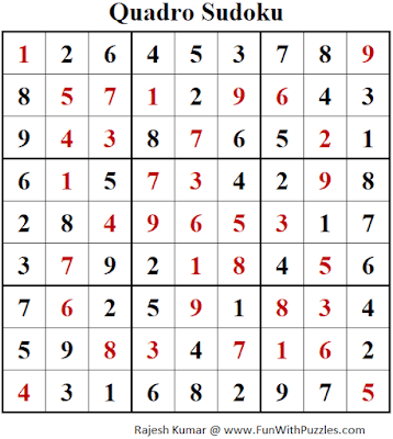 Answer of Quadro Sudoku Puzzles (Fun With Sudoku #395)
