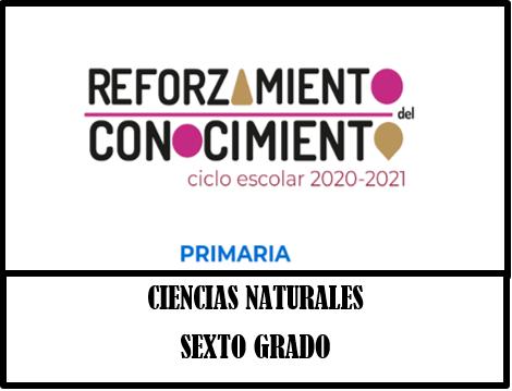REFORZAMIENTO DEL CONOCIMIENTO  CIENCIAS NATURALES 6º GRADO PRIMARIA CICLO ESCOLAR 2020-2021.
