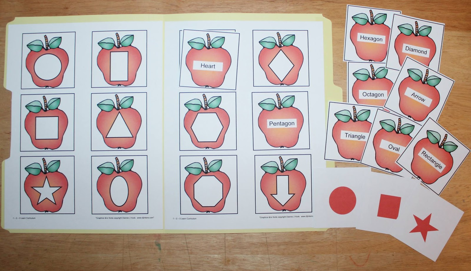 Apple Shape Match File Folder Game