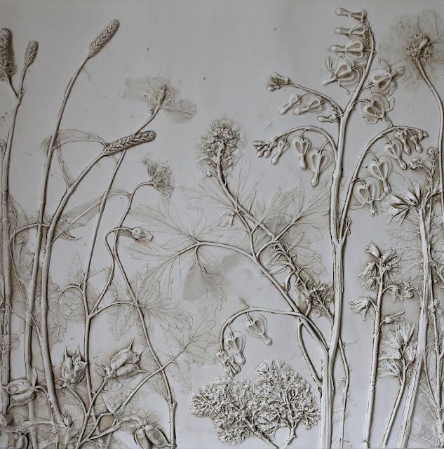 Botanical Art, Rachel Dein, Plaster Cast, Plaster Tile, Tactile Studio
