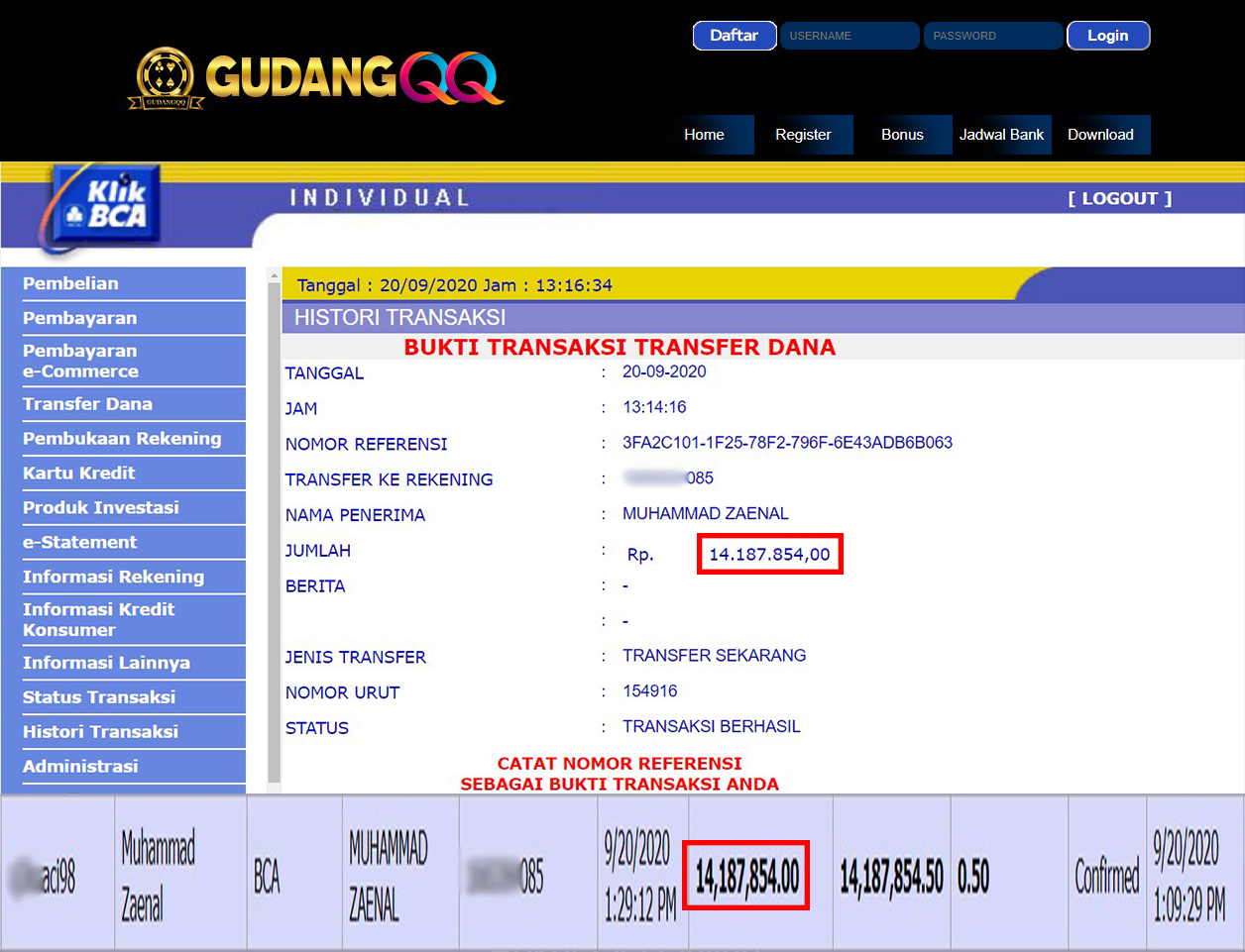 Selamat Kepada Member Setia GudangQQ WD sebesar Rp. 14,187,854.-