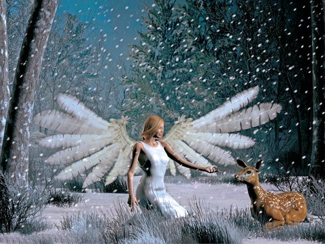 Achtergrond met kerst engel en hertje