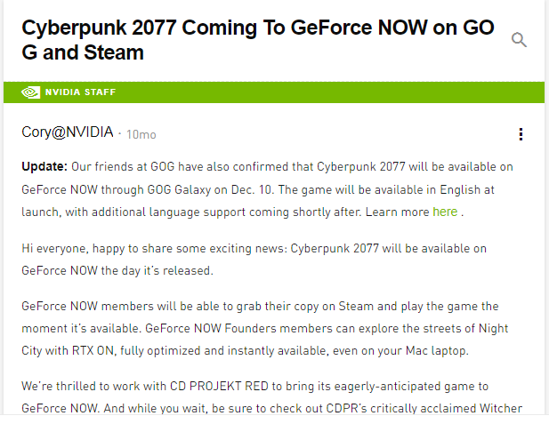 Cyberpunk 2077 to Launch on Nvidia Geforce Now on 10 December