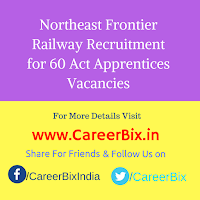 Northeast Frontier Railway Recruitment for 60 Act Apprentices Vacancies