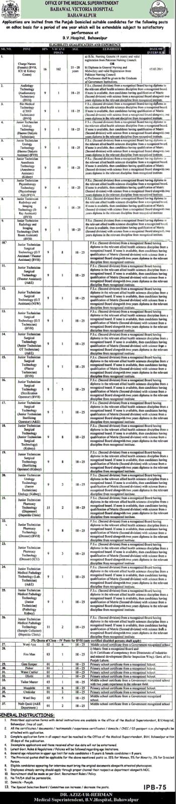 Health Department Bahawal pur Victoria Hospital jobs 2019