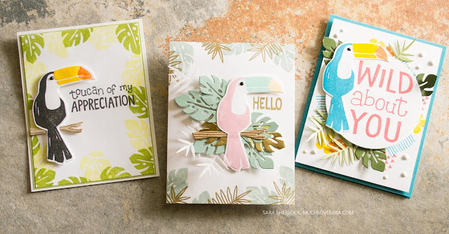 These three fun Toucan cards were created with the NEW (July 2019) Concord & 9th Toucan Paradise bundle, and the Tropical Vibes dies.