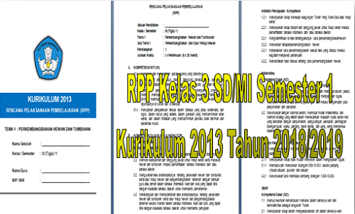 RPP Kelas 3 SD/MI Semester 1 Kurikulum 2013 Tahun 2018/2019