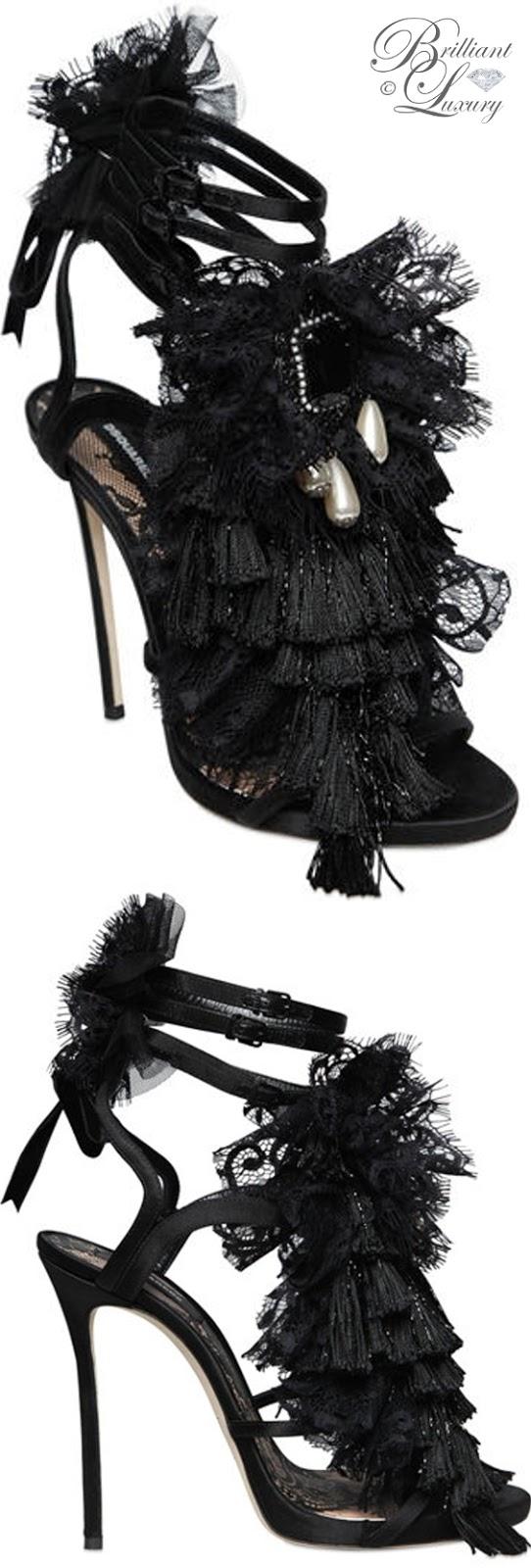 Brilliant Luxury ♦ Dsquared2 black lace & satin sandals