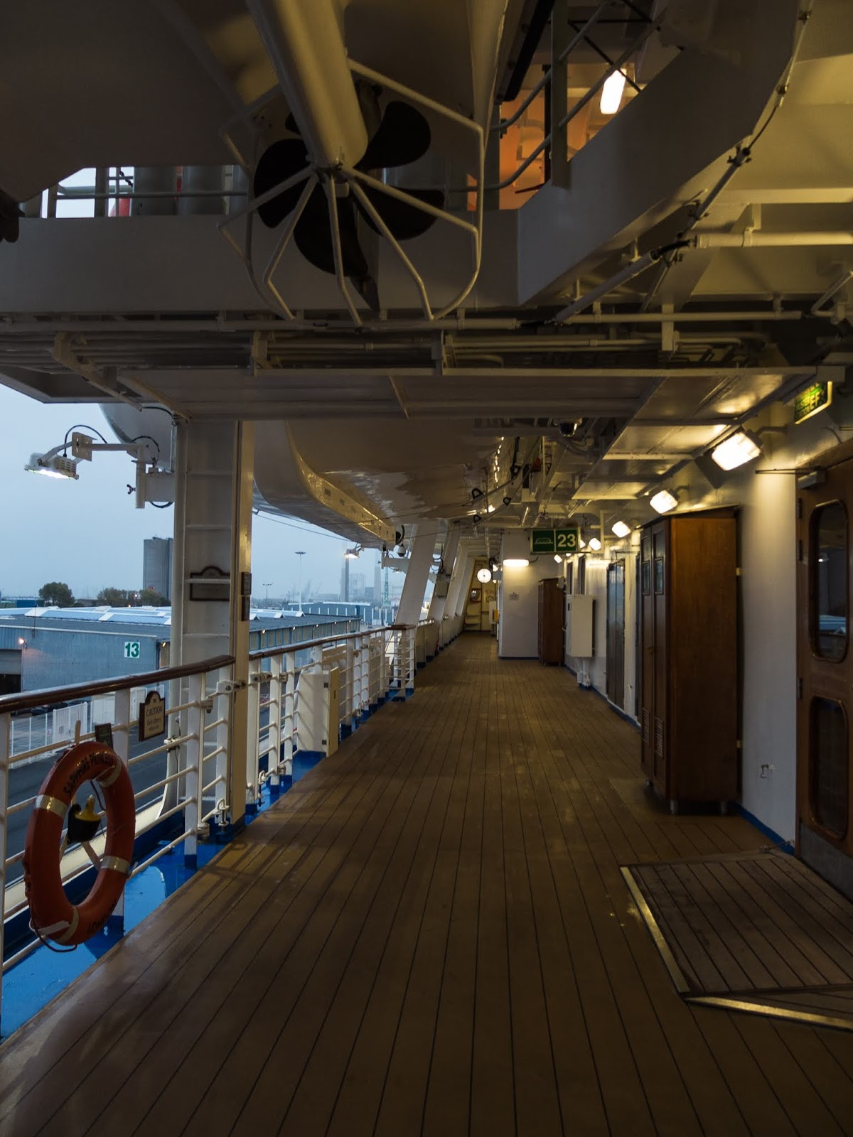 Deck on the Sapphire Princess cruise ship during an early autumn morning.