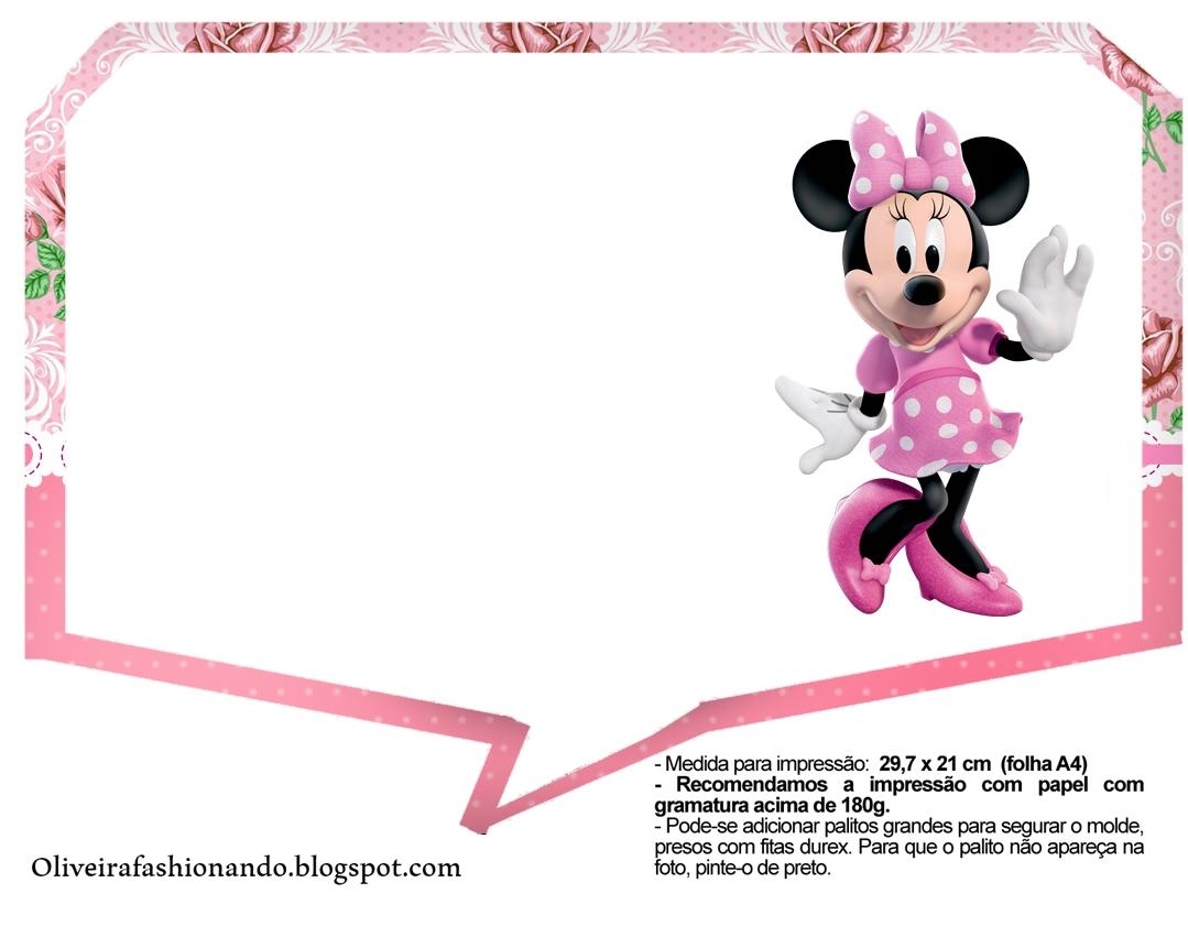 Oliveira Fashionando Plaquinhas Minnie Rosa Para Imprimir