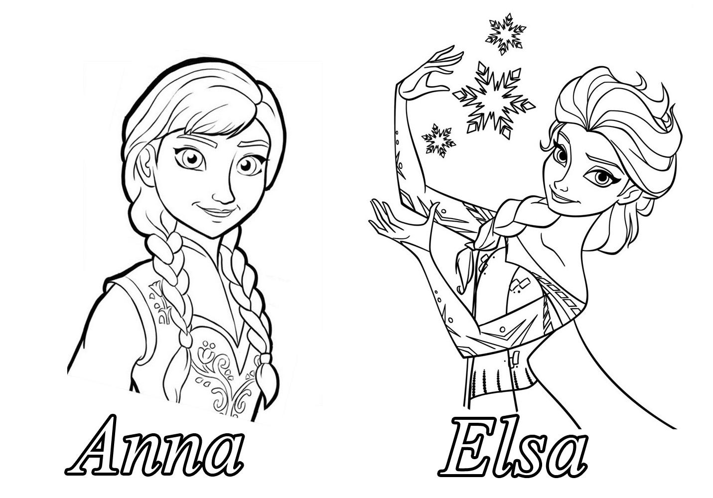 Tranh tô màu Elsa và Anna 09