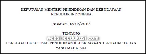 Kepmendikbud Nomor 109/P/2019 Tentang Penelaah Buku Teks Pendidikan Kepercayaan