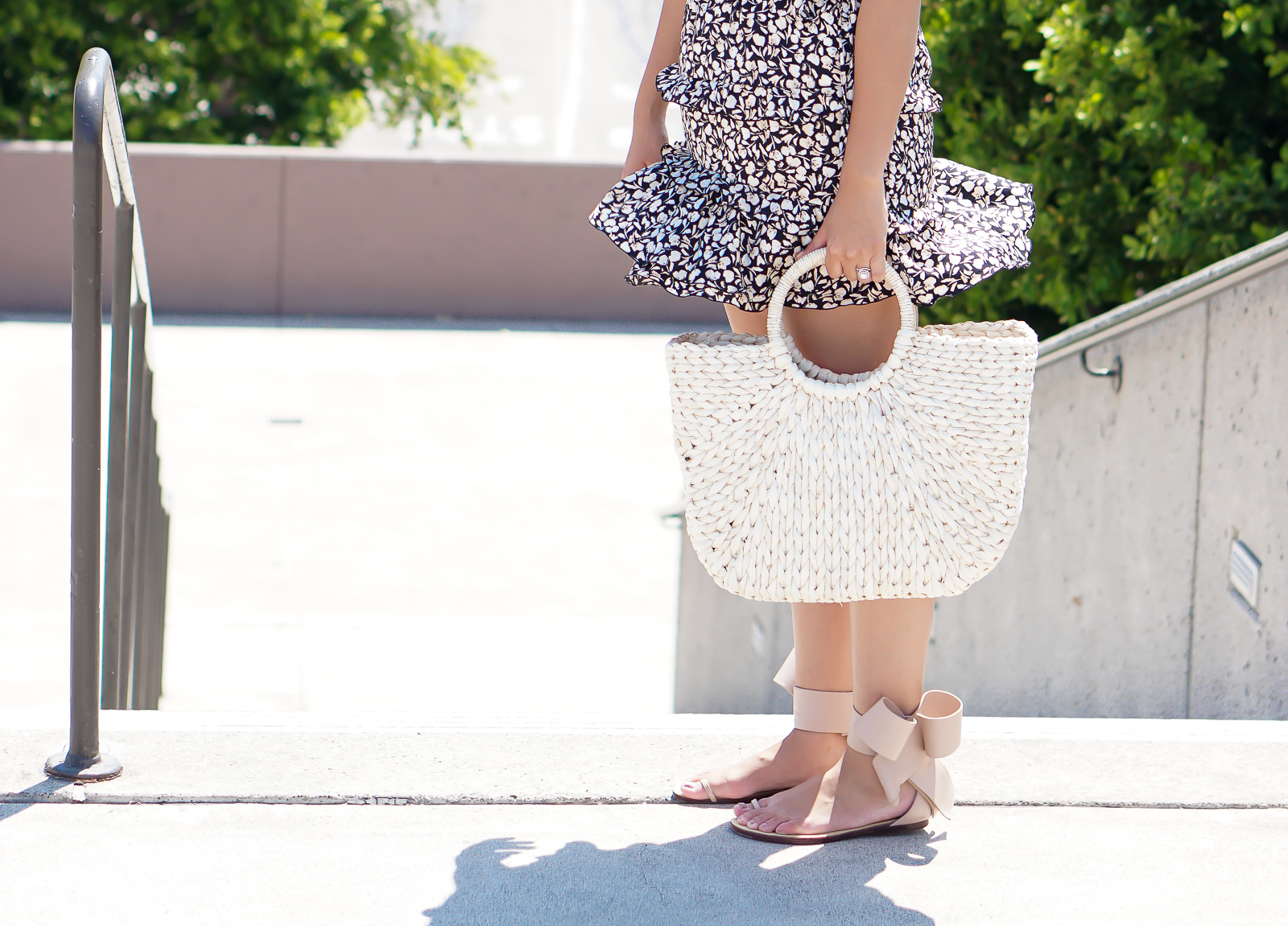 Amina Abdul Jillil Bow Sandals, Summer Straw Tote Bag, Who What Wear Ruffle Skirt, Summer Trends,