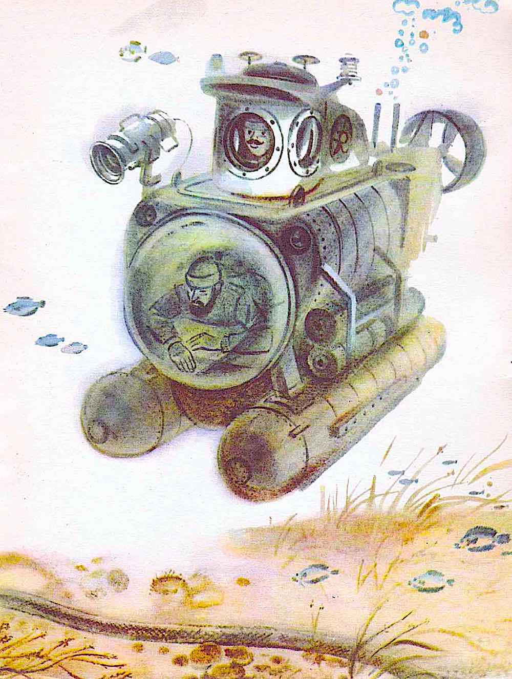 a Russian children's book illustration 1960s? Men in a small submarine