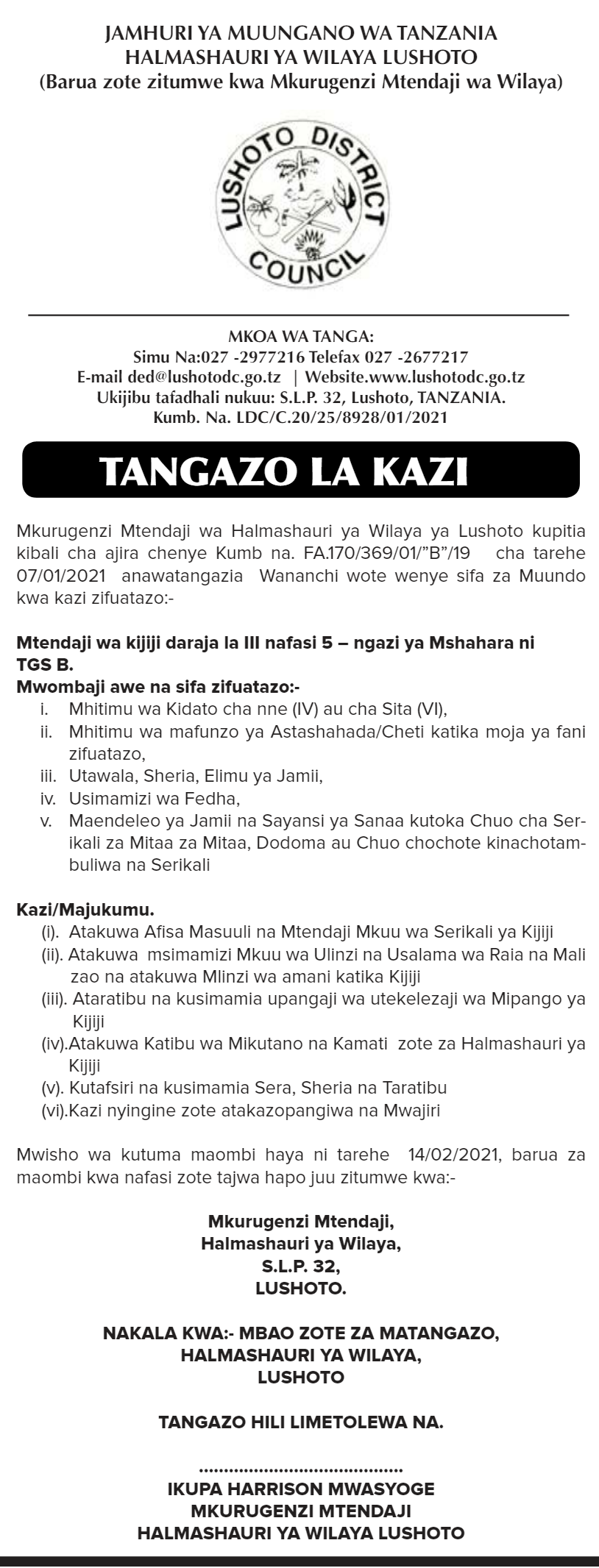 Watendaji 5 Posts at Lushoto District Council January 2021