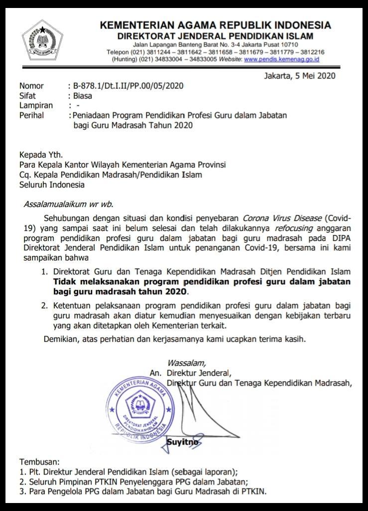 Surat pengantar peniadaan PPG dalam jabatan tahun 2020