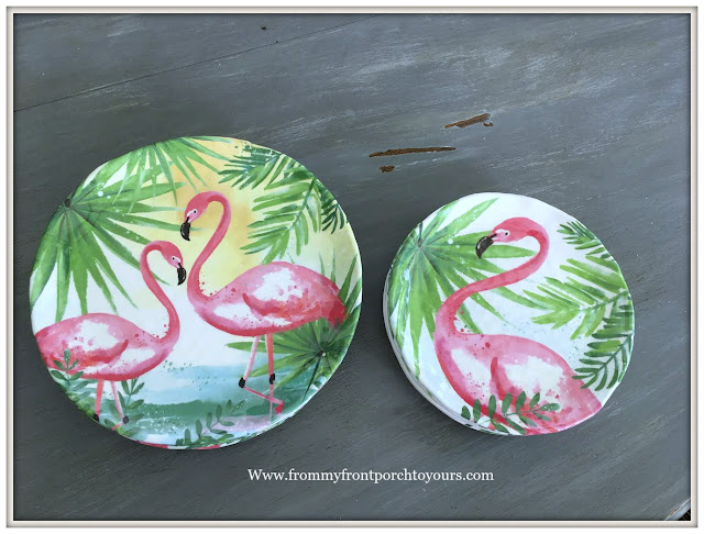 Hobby Lobby-Clearance-Melamine Plates-Pink-Flamingoes-From My Front Porch To Yours
