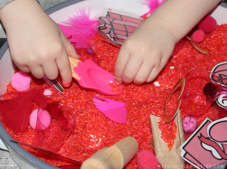 Valentine's Day themed rice sensory bin for toddlers and preschoolers.