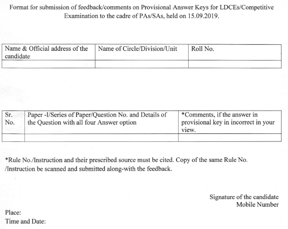 Seeking feedback/comments on provisional answer key of LDCEs/Competitive Exam for the post of Pas/SAs, held on 15.09.09