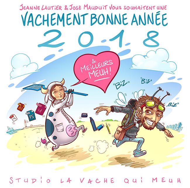 Graphistes et illustrateurs de la vache qui meuh vous souhaite une bonne année 2018