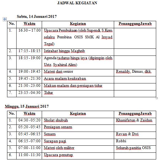 Proposal Kegiatan Latihan Dasar Kepemimpinan Siswa (LDK) Osis SMK Al-Irsyad Tegal Tahun 2017