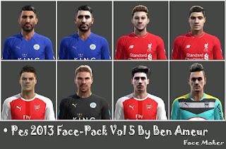 Faces: Robert Zieler, Riyad Mahrez, Philippe Coutinhom, Jerome Prior, Hector Bellerin,  Granit Xhaka, Adam Lallana, Pes 2013