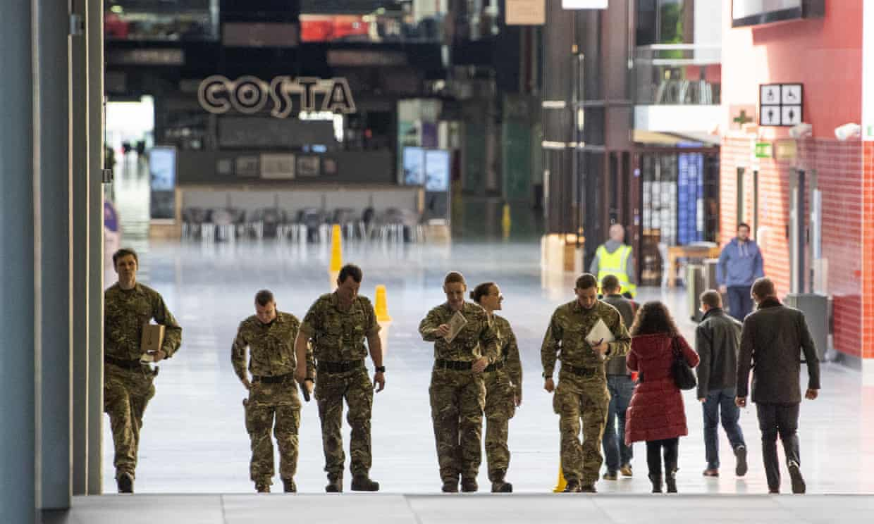 Military personnel at the Excel Centre in east London