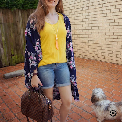 awayfromblue instagram floral cocoon kimono with mustard tank and bermuda denim shorts, speedy bandouliere SAHM style