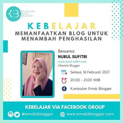 Narasumber KEB Belajar Kumpulan Emak Blogger