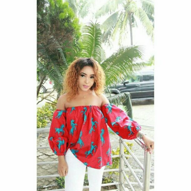 Ankara top and white jeans