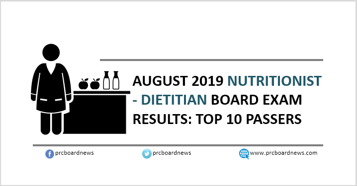 PRC RESULT: August 2019 Nutrition and Dietetics board exam top 10
