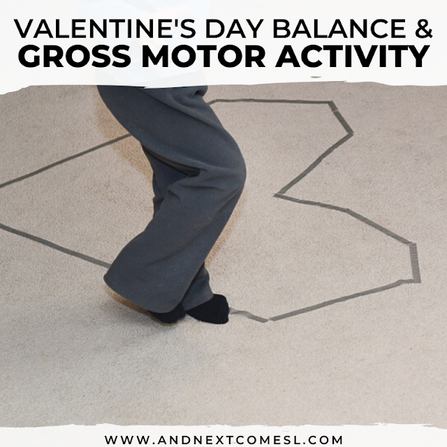 Gross motor balance activities for preschoolers and toddlers that's perfect for Valentine's Day